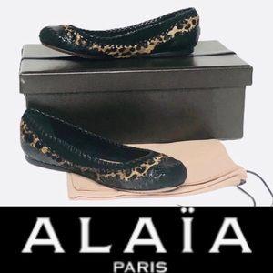 Alaia Bl Python/Leopard Pony Hair Trim Ballet Flat